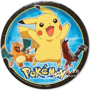 "Pokemon 9"" Round Plate, 8 Count, Party Supplies"